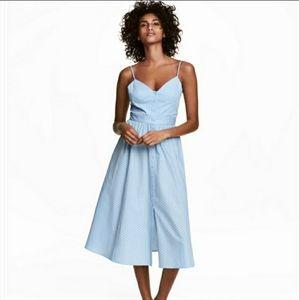 NWT H&M blue polka dot button down midi dress sz 2